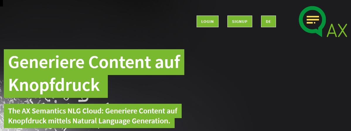 AX Semantics screenshot 1